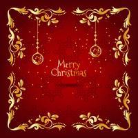 Cartão de Natal vintage vermelho e dourado com decoração floral