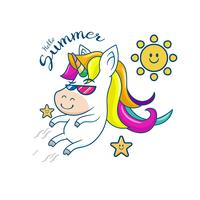 Beautiful unicorn with summer