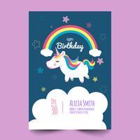 Cartão de aniversário com unicórnio fofo