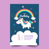 Birthday card with cute unicorn