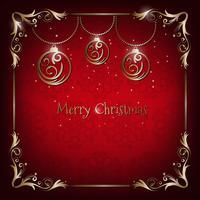 Tarjeta de felicitación roja y dorada de Navidad vintage con decoración floral