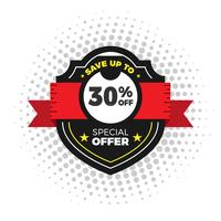 Sale and special offer. 30% off. Shield vector illustration