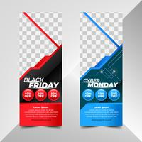 Plantillas de banners de Black Friday y Cyber Monday Sale