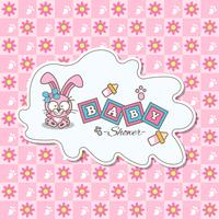 Pink card for baby shower with a cute Rabbit