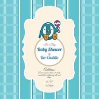 Blue card for baby shower with a cute penguin