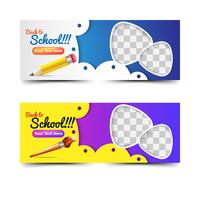 Back to school banners collection with pencil and brush