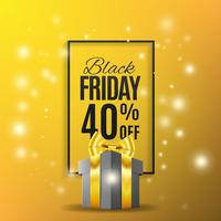Background yellow with gift, black friday