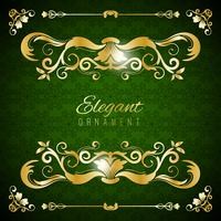 Vintage invitation card. Green luxury background with golden frame. Template for design