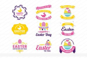 easter Retro Vintage Vector Label