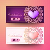Happy Valentines Day decorative Poster Design Template. Horizontal format