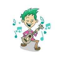 Cartoon character, Boy playing guitar