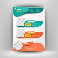 Template flyer green and orange elements