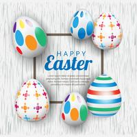 Easter banner background template with beautiful eggs. Vector illustration