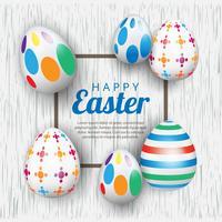 Modèle de fond de bannière de Pâques avec de beaux œufs. Illustration vectorielle