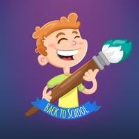 Cartoon boy with brush topic Back to School