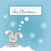Sfondo di Natale con un coniglio carino