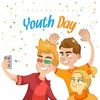 Happy youth day background with people having fun