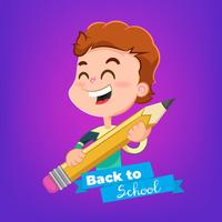 Cartoon boy with pencil topic Back to School