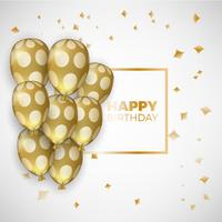Birthday card with golden balloons and birthday text