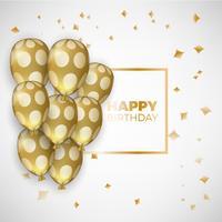 Carta di compleanno con palloncini dorati e testo di compleanno