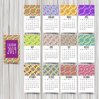Kalender 2019. Vintage decoratief element