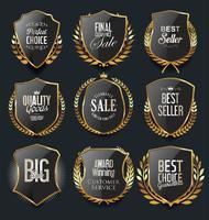 Escudos de oro premium de lujo y laureles.