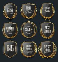 Goldene Luxusschilde und Lorbeeren