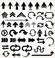 Hand drawn vector set of arrow shapes isolated on white