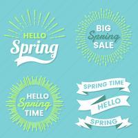 Spring Retro Vintage Vector Etikett