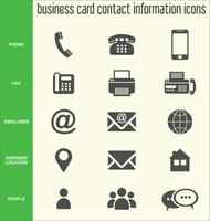 Business card contact information icons collection vector