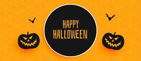 diseño de banner de halloween feliz con calabaza y murciélagos volando