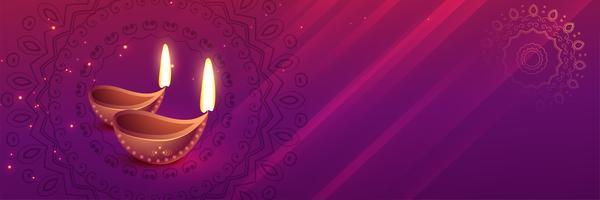 schöne Diwali Festival Banner mit Diya Kunst