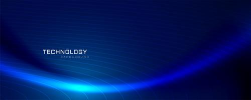 design de bandeira de tecnologia de onda azul