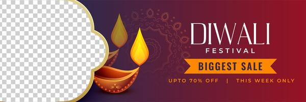 stylish diwali discount banner with image space