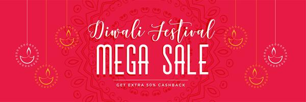 red diwali mega sale banner with hanging diya