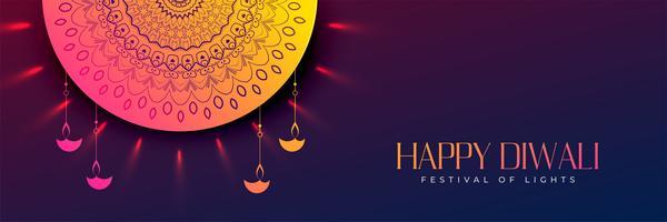 glad diwali vacker dekorativ banner design