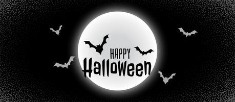 banner de halloween negro de miedo con la luna y los murciélagos volando