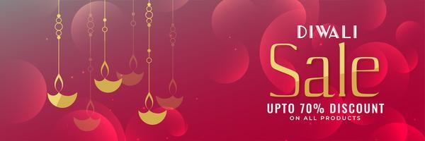 diseño de banner de venta de festival de diwali brillante