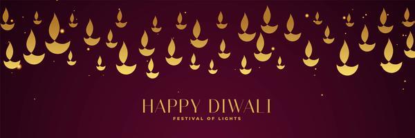 Happy Diwali Festival Banner mit goldenen Diya in verschiedenen Größen