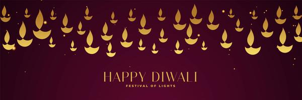 happy diwali festival banner with golden diya in different sizes