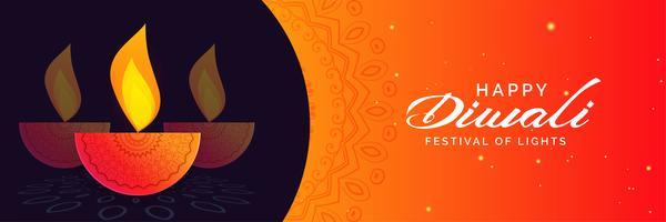 Happy Diwali Banner Design mit dekorativen Diya