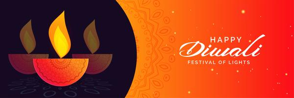 Happy Diwali Banner Design mit dekorativen Diya