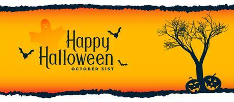 escena del festival de halloween con árbol, murciélagos volando y calabazas
