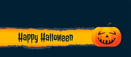Fondo de banner de halloween de calabaza sonriente