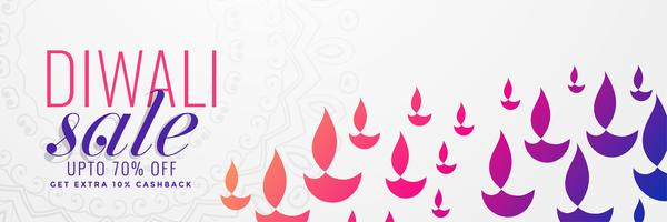 diwali sale banner with many colorful diya