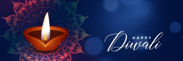 beautiful diwali festival blue banner with diya