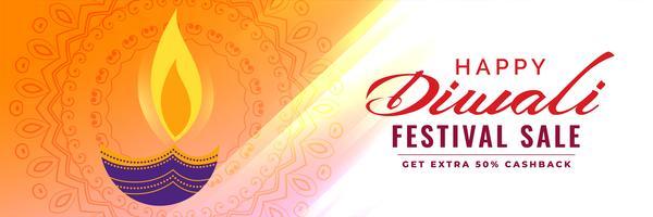 Banner de venta de diwali artístico con decoración de diya.