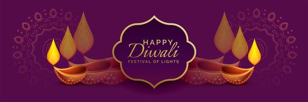 bellissimo banner di diwali con decorazione diya