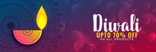 Encantador festival de diwali disount banner o cupón de diseño
