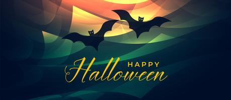 banner de halloween abstrata com dois morcegos